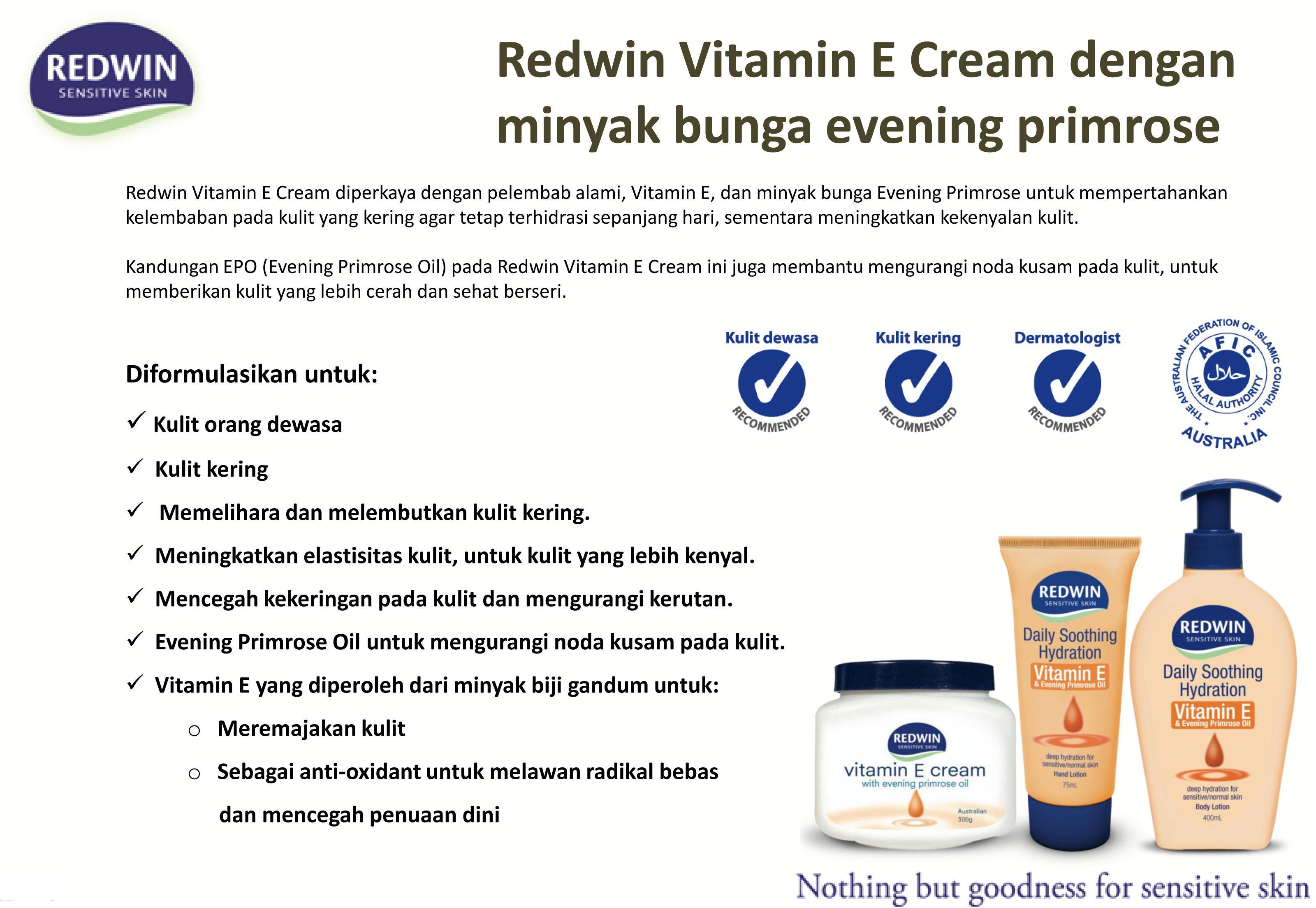 Redwin - Vitamin E Cream w/ Evening Primrose Oil - (300gr)